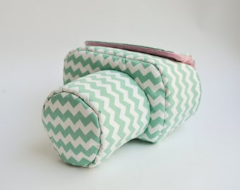 Case for DSLR camera bag cover mint white pink zigzag pattern cotton
