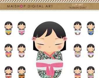 Clip Art Kokeshi Dolls + Digital Collage Sheet Cute Japanese Dolls for Crafts, Invites, Cards, Design, Decoupage, Prints, Notebooks...