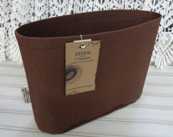 10.5 x 3.5 x 8H / Small / extra-tall oval / Ready to Ship / Purse ORGANIZER Insert Shaper / BROWN / Sturdy & Durable / Interior pockets only