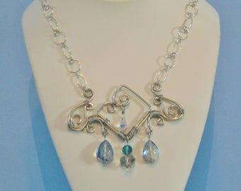 Swarovski Crystal Sterling Silver Statement Bib Necklace