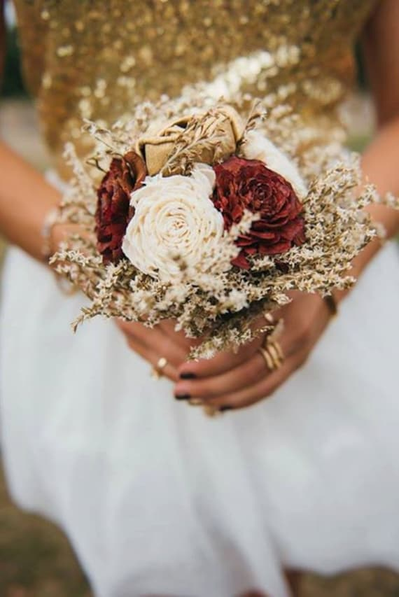 Small Burgundy Ivory Gold Rustic Wedding Bouquet Sola Flowers