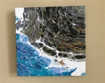 Shoreline, acrylic pour painting, 8x8 stretched canvas
