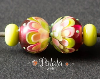 Pair of Lime and pink lampwork beads