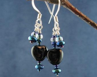Dancing Iris and Black Hearts Earrings E177