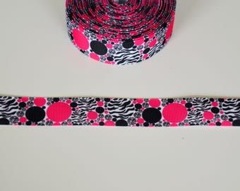 "Ribbon grosgrain ""round black, Fuchsia and Zebra"" 22mm"