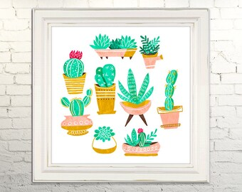 CACTI Printable Art print Instant Download jpg Digital Illustration Cactus Flora Plants Southwestern Gardening Succulents Wall Decor Poster