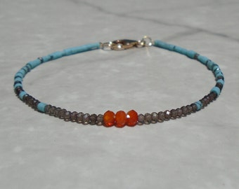 Turquoise Bracelet, Genuine Turquoise, Carnelian Bracelet, Dainty Beaded Bracelet, Skinny Bracelet, Anklet, Turquoise Anklet, Beaded Anklet