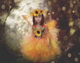 Fall Fairy Costume - Sunflower Fairy Costume - Girls Fairy Dress - Woodland Fairy - Fairy wings - Fairy Tutu Dress - Sunflower Fairy Crown