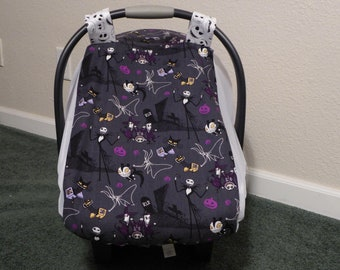 NIGHTMARE BEFORE CHRISTMASFitted,  w/Mosquito & bug Netting Baby Car Seat Canopy Cover for warm climate and summer babies