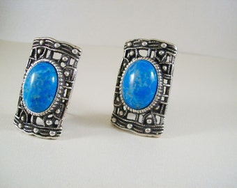 Circuitry clip on earrings - turquoise Fossil Stone and antiqued silver