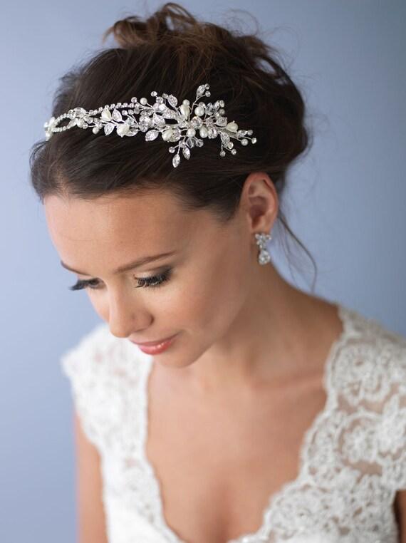 Pearl & Crystal Bridal Headband, Side Wedding Headpiece, Silver Floral Bridal Headband, Wedding Headband, Floral Hair Accessory ~TI-3268