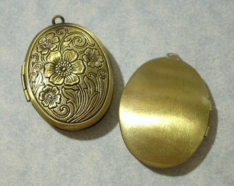 Bronze Oval Locket, Etched Floral Locket, Memory Locket