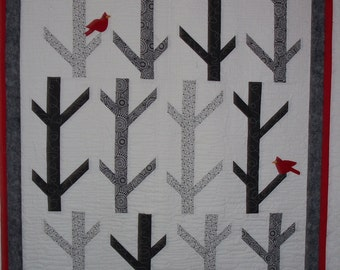 quilt.  red birds in the aspens