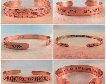 Custom Bracelet, Personalized Bracelet, Custom Quote Bracelet, Rose Gold Bracelet, Custom Rose Gold Bracelet, Red Fern Studio