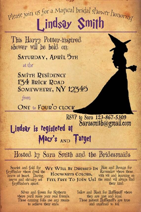 Items Similar To Harry Potter Bridal Shower Invitation On Etsy