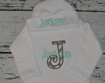 Custom Boutique Infant Gown Personalized Initial MONOGRAM