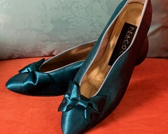 Teal Satin Kitten Heel Pumps with Pretty Bow