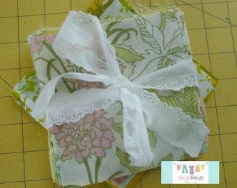 Large Pastel Floral Vintage Sheet Charm Pack, 12 Charms