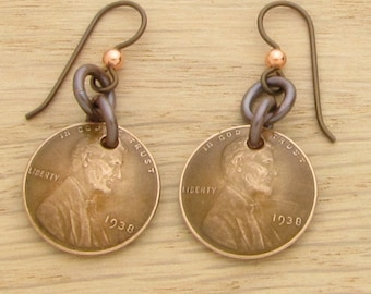 For 80th: 1938 Dark Copper US Penny Earrings 80th Birthday Gift Coin Jewelry