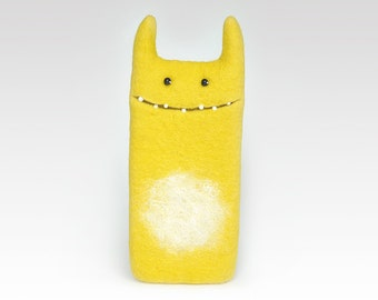 Monster Yellow case for iPhone 7, felt case,  handmade, Eco-friendly, best gift idea, Ready to ship