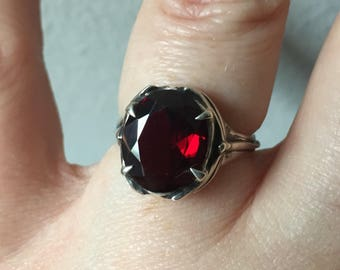 Garnet and Sterling Silver= Damselfly and Dragonfly Ring