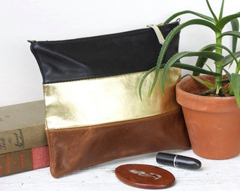 striped leather bag with detachable strap