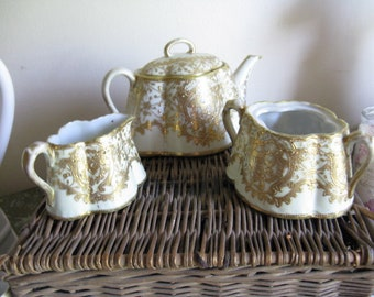 3 Piece Antique Tea Set Teapot Creamer Sugar Nordic French Porcelain Made in Japan