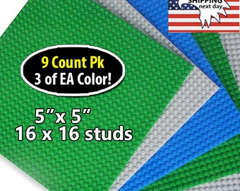 "For LEGO® Bricks - Compatible Base plates 5""x5"" 16x16 Studs Baseplates - 9 Pack Baseplates Set in  3 Colors"