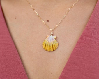 Sunrise Shell and 14 karat gold fill necklace