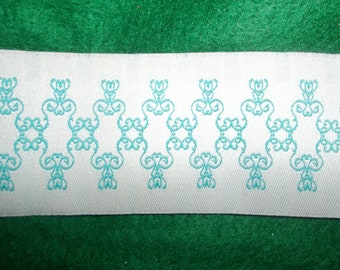 "Green White French Flourish Jacquard Ribbon Trim 1.75"" Wide x 5 Yards"
