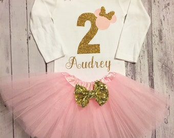 Pink and Gold Personalized Minnie Mouse 2nd birthday bodysuit Tutu Set, Minnie Mouse 2nd birthday shirt, pink and gold minnie birthday, pink