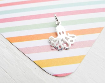 Octopus Charm Sterling Silver Octopus Pendant Adorable Animal Sea Creature for Necklace or Bracelet (CNA687)