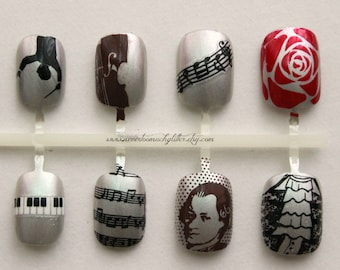 Classical Music Press On Nails | Nails For Musicians | Classical Music Fake False Nails | Beethoven Orchestra Acrylic Glue On Nails