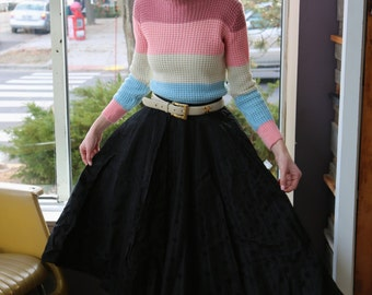 Vintage 1950's Black Polka Dot Full Circle Skirt
