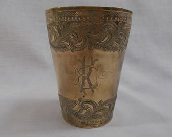 Antique Etched Brass Tumbler