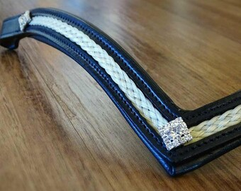 Deep V Padded Browband with Horse Hair Inlay and Rhinestones