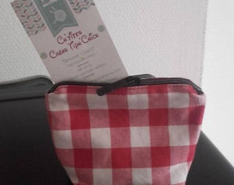 wallet red gingham fabric