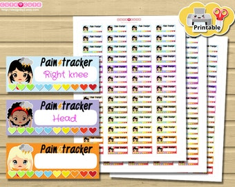 Chic Pain Tracker Printable Stickers. Pain Sticker set for your Life Planner. Fit on 1,5 inches boxes.