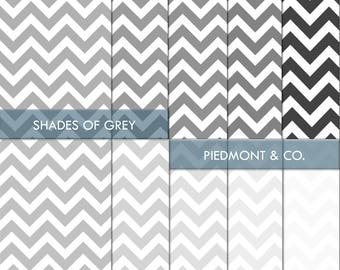 INSTANT DOWNLOAD - Shades of Grey Chevron Digital Paper Pack