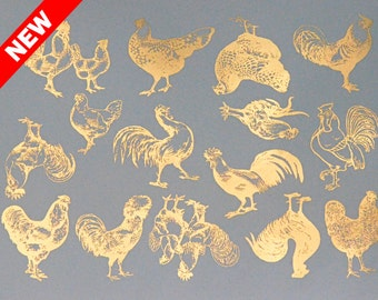 Vintage Chickens Ceramic Decals, Glass Fusing Decals, Waterslide Decals, Ceramic Transfers
