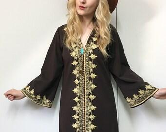Vintage 1970s Dress, 70s Maxi Dress, Vintage Kaftan, Vintage Boho Dress, Retro Brown Dress, Embroidered Dress, 1970s, S-M