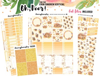Fall Planner Stickers, Planner Stickers for Erin Condren, Planner Sticker Printables, Vertical Planner Kit, Autumn Stickers, Deer Stickers