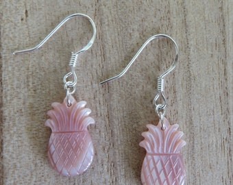 Pink Pineapple Earrings- Pineapple-Pink-Earrings-Gifts for her- Mother of Pearl- Shell- Hawaii- Sterling Silver- Silver- Dangle Earrings