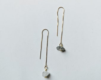 Gold and Quartz Thread Earrings