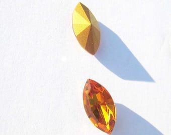 Lot 2 faceted Navettes Swarovski Vintage Topaz Crystal - 18 * 9 mm