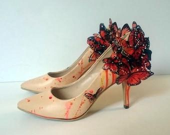 Orange 3D Butterfly high heels wedding shoes - UK size 6.5 US size 9