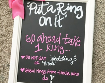 Chalkboard bridal shower game bachelorette weekend game put a ring on it dont say bride