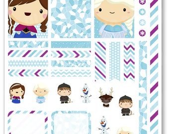 Frozen Friends Decorating Kit / Weekly Spread Planner Stickers for Erin Condren Planner, Filofax, Plum Paper