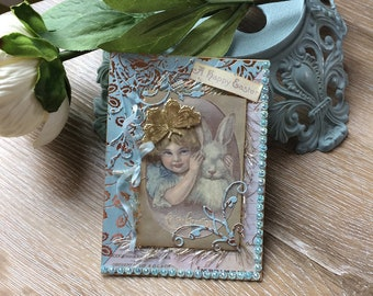 Handmade Easter Card - Blue Easter Card