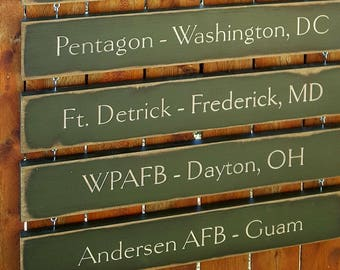 """Personalized Carved Wooden Sign - Additional Location Boards for hanging Military Family Sign  - 3.5""""x22"""""""